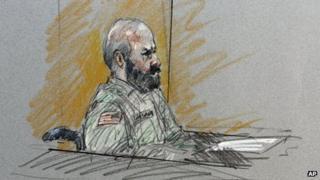 Court sketch of Maj Nidal Hasan in Fort Hood, Texas on 6 August 2013