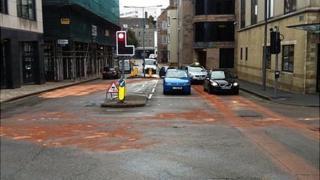 Oil spill on roads in St Helier