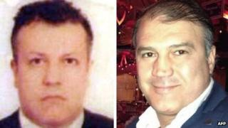 Murat Akpinar (r) and his co-pilot Murat Agca (l), who were kidnapped in Lebanon