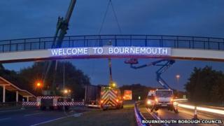 Welcome to Bournemouth sign
