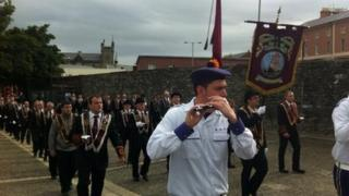 The Apprentice Boys marching on Londonderry's historic walls