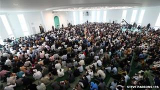 Eid celebrations at the Baitul Futuh Mosque in Morden