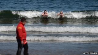 RNLI lifeguard at beach