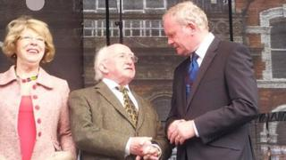 Michael D Higgins and Martin McGuinness