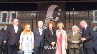 Michael D Higgins and Martin McGuinness along with fleadh organisers