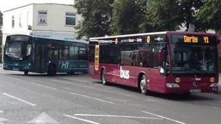 Buses from Trent Barton and Yourbus arriving at the same stop