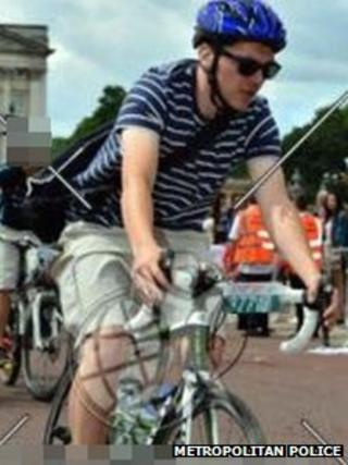 Cyclist riding stolen bike