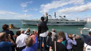 Well-wishers waving off HMS Illustrious