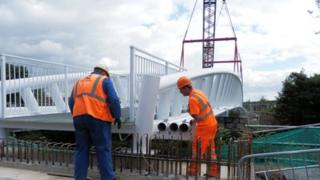 New footbridge is lowered into place near Morriston