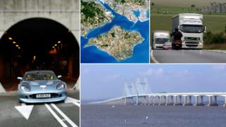 Composite photo including: A car emerging from the Channel Tunnel; an aerial view of the Isle of Wight; Vehicles travelling past Stonehenge; River Severn crossing bridge