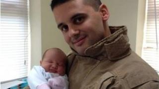 Adam Taleb with baby daughter, Georgia Lily