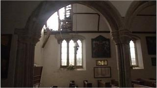 Damage in Pillaton Church roof