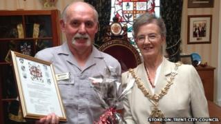 Chris Thompson with Councillor Sheila Pitt