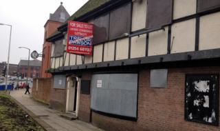 Boarded-up pub in Blackburn
