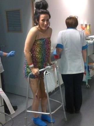 Kirsty Owen in hospital