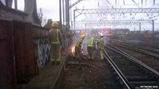 Line-side fire near Glasgow Central Station