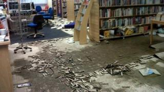 The flood damaged floor of St Asaph library