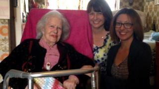 Kathleen with her granddaughters Helen and Alison
