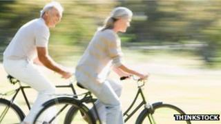 Old people on bikes