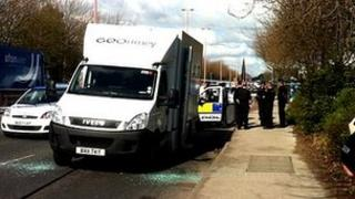 Raid scene Regent Road Salford