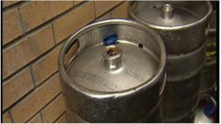 Kegs of beer similar to these were stolen