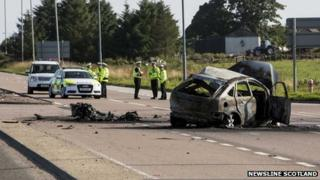 Scene of the collision on the A90