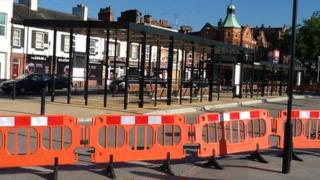 The station forecourt barriers