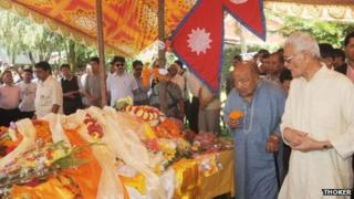 Mourners pay their last respects to Former Nepalese Prime Minister Marich Man Singh Shrestha