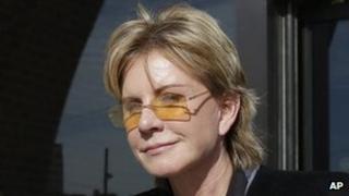 Patricia Cornwell leaves court in Boston, Massachusetts 7 February 2013