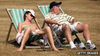 Relaxing in the sun in London's Hyde Park