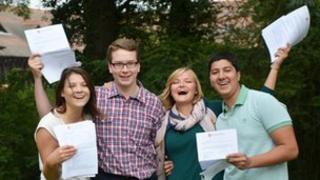 Year 13 students Portia McEwan, Daniel Mullens, Grace Fairbairn and Taha Kahn at New Hall School, Chelmsford