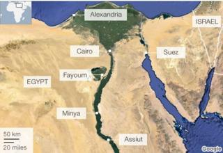Map of Egypt flashpoints of violence