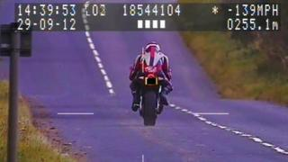 A motorcyclist captured speeding by North Yorkshire Police