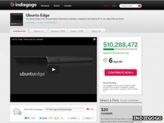 Screenshot of Ubuntu Edge Indiegogo campaign
