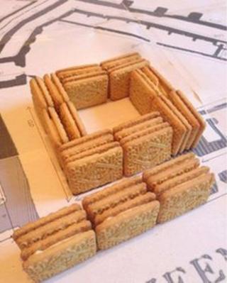 Custard creams on plan of Carlisle Castle