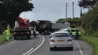 Crash on A30 at Crowlas near Penzance