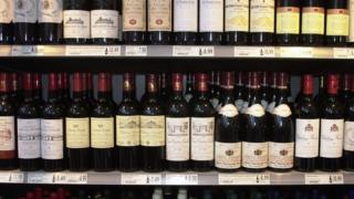 Wine on supermarket shelves
