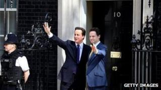 David Cameron and Nick Clegg after the coalition deal in May 2010