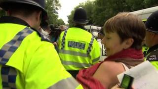 Caroline Lucas is arrested at Balcombe