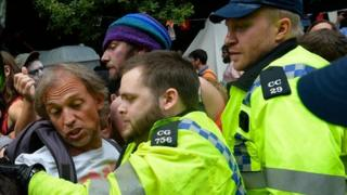 Police and protesters at Balcombe