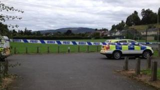 Police at the scene in Presteigne