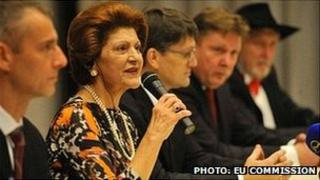 EU Commissioner for Culture Androulla Vassiliou with Slovak officials in Kosice, 20 Jan 13