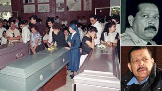 Coffins of the murdered priests; and Gen Montano in 1989 and as he is today