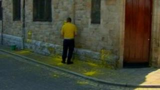 Paint was thrown over the walls of the Apprentice Boys' Memorial Hall