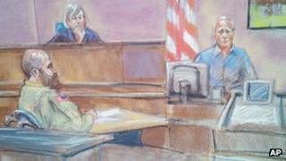 In this courtroom sketch defence witness Stephen Bennett, right, testifies as Maj Nidal Malik Hasan, left, and presiding judge Col. Tara Osborn look on in court during Hasan's court-martial in Fort Hood, Texas on 20 August 2013