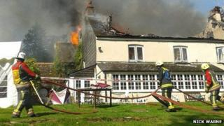 Great Trethew Manor Country Hotel on fire