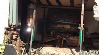 Car inside pub in Barley, Herts