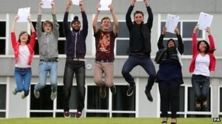 Students celebrating their results