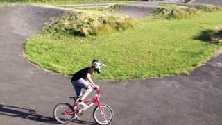 BMX rider on the Llynfi track
