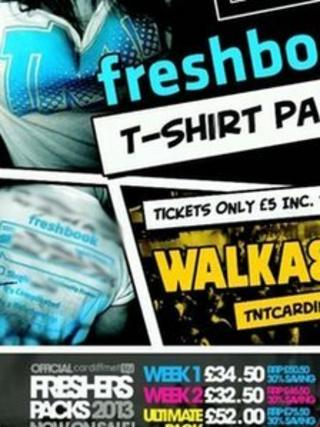 The fresher's week poster, with phrase about rape blurred out